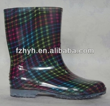 Colorful Plaid Kids PVC Rain Boots