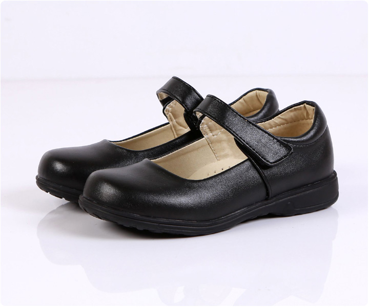 Juqian customize high quality matte black leather kids pu student school shoes