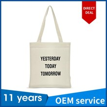 OEM cotton canvas white tote organic bag cotton tote bag with custom logo printed china factory with FAMA certification