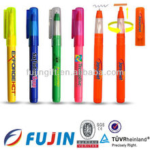 2 in 1 multi functional highlighter and ballpoint clear plastic pens refill combined/marker pen/zhejiang pen