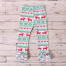 2017 latest printed cotton triple ruffles joggers baby christmas leggings pants for fitness leggings