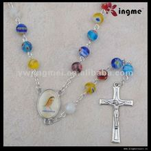 8mm millefiori glass rosary Catholic necklace religious gift
