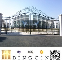 Modern grill forged steel wrought iron gate for home