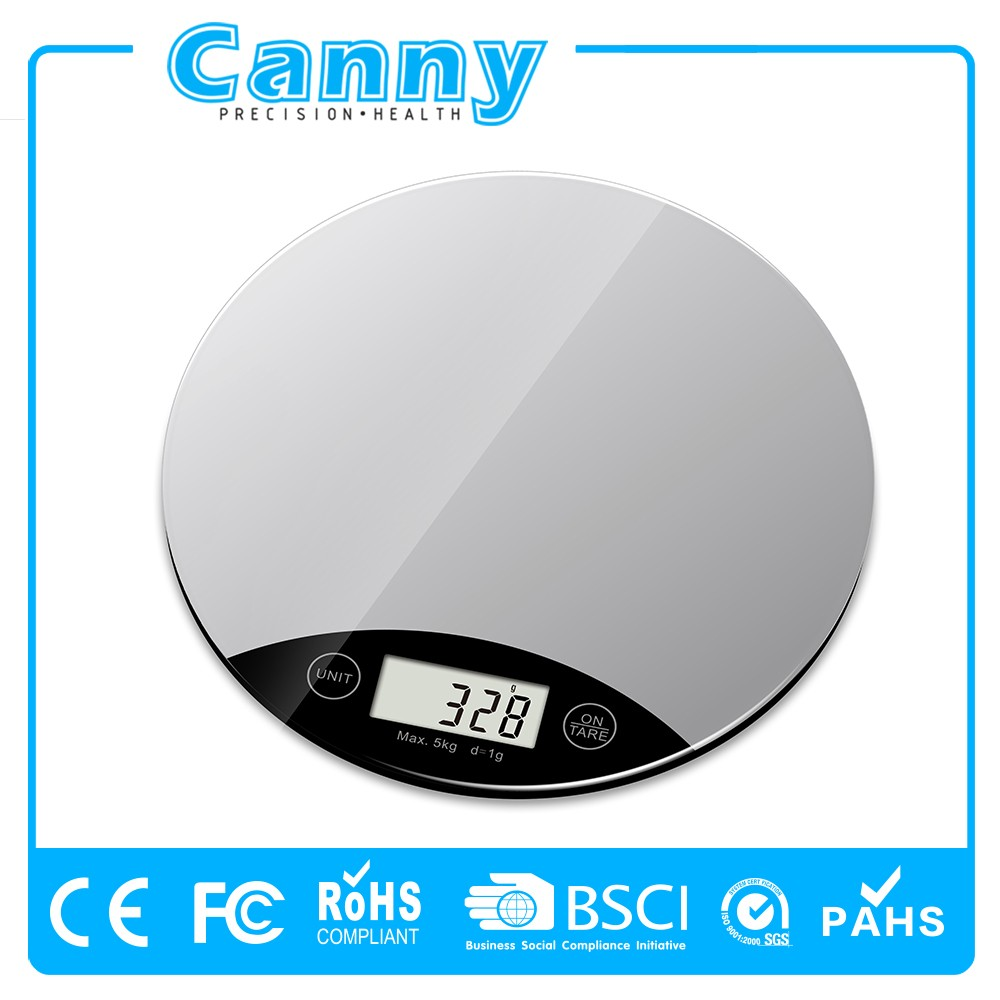 Digital electronic round kitchen scale with LCD display