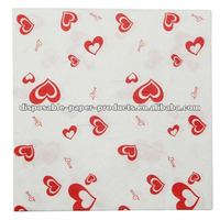 Wholesale Love Hearts Printed Napkins/hearts NAPKINS SERVIETTES WEDDING Love Theme Valentines Day Party Supplies