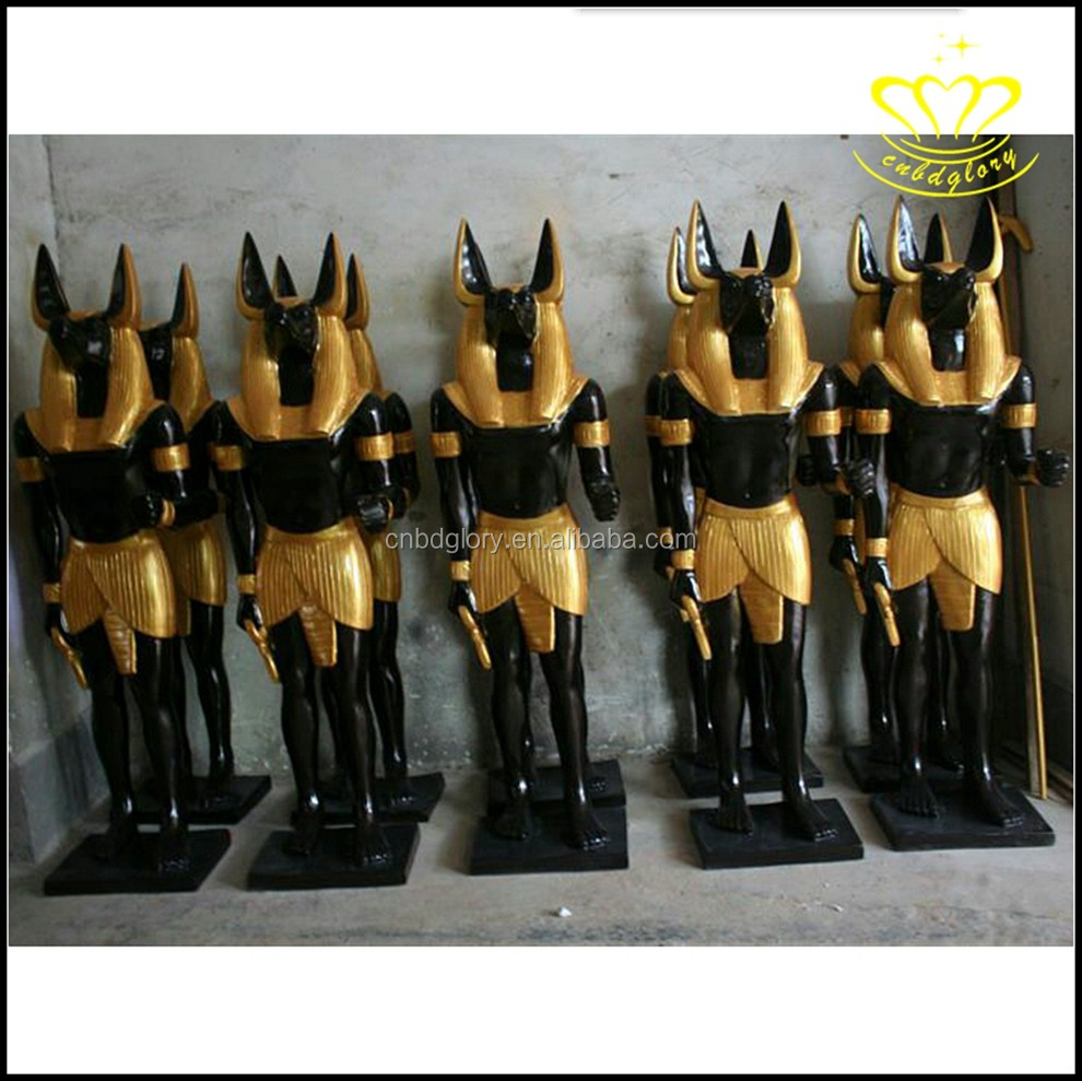 Vintage black Egyptian anubis god fiberglass resin statue