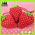 Foldable Polyester Cute Shopping Bag with customized printing strawberry shaped bags