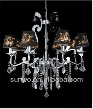 Big Diamond Pattern Crystal Davit Classical Black Fabric Chandelier