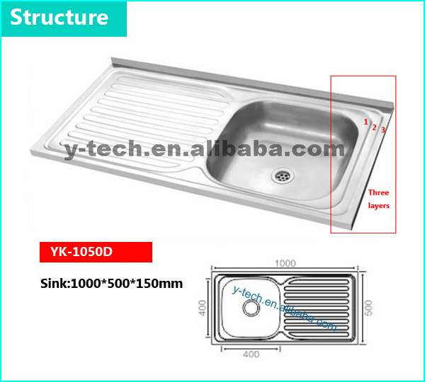 Common sizes stainless kitchen basin folding sink stainless steel YK-1050D