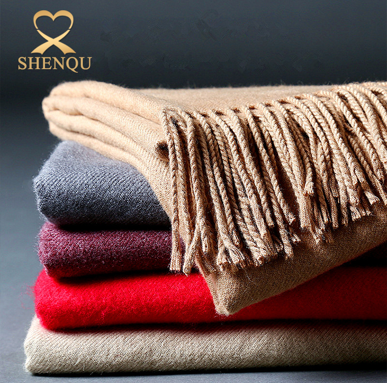 Fashion tassel design warm thickness large ladies stoles and shawls imitated cashmere wool pashmina scarf shawl