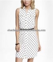 CHEFON Zip pocket shirt polka dot dress with belt CED0089