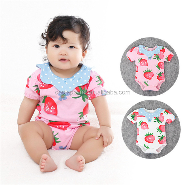 Wholesale short sleeve cute fruit soft baby girls newborn baby clothes
