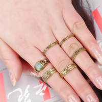 National Wind retro metal statement personality ring set