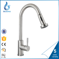 2016 hot sales quality double spray nickle brushed Pull Out kitchen faucet