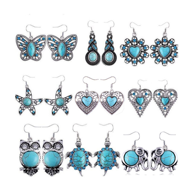 Bohemian Vintage Silver Plated Crystal Owl Eyes EarringTurtle Love Butterfly Starfish Turquoise Earrings E1354 E1226