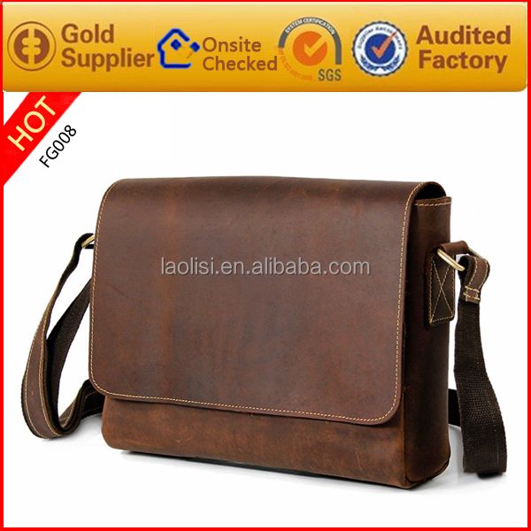 Hot sale 100% vintage genuine leather bag laptop bag for men