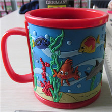 New Design Promotion 3D Cartoon Printed Kids Pvc Rubber Mugs