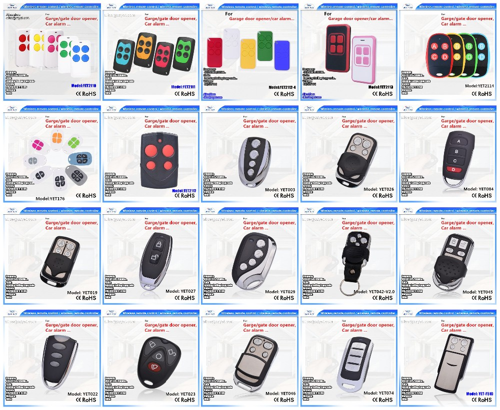 Shenzhen factory ABCD button 433.92mhz duplicate universal garage door remote control YET084