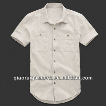 Men 39 s short sleeve stylish two pocket casual linen cotton for Mens double pocket short sleeve shirts