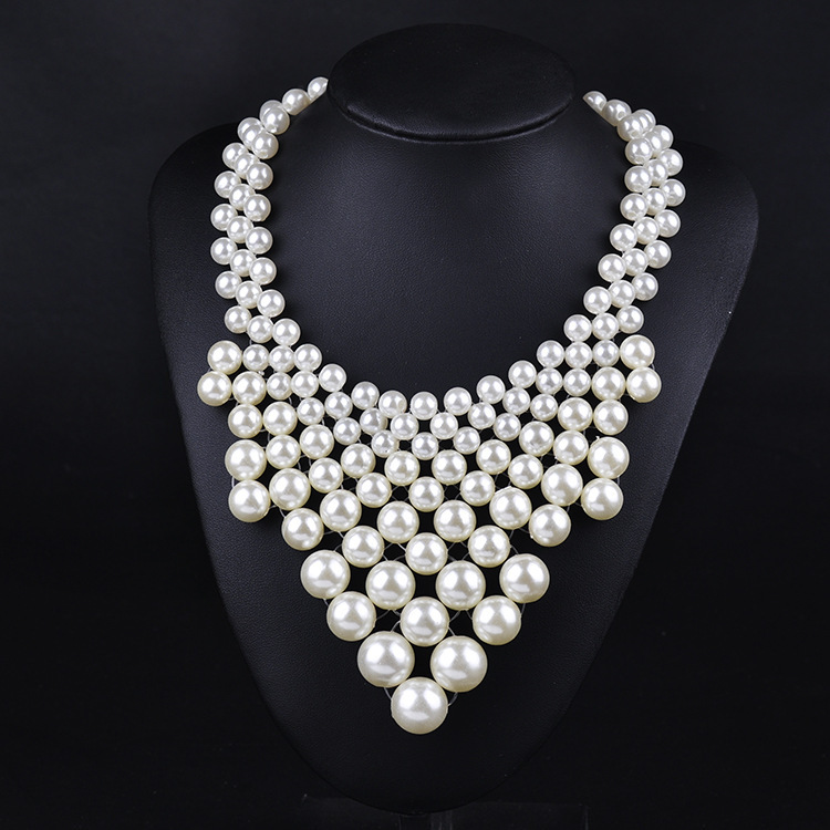 Fashion Resin Big White Simulated Pearl Multi Strand Layer Chunkys Evening Necklace