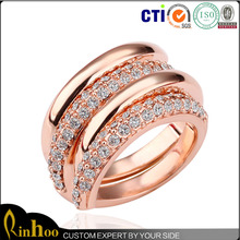 Rose Gold Double Layer Rhinestone Ring Wholesale, Women Fashion Cheap Double Ring