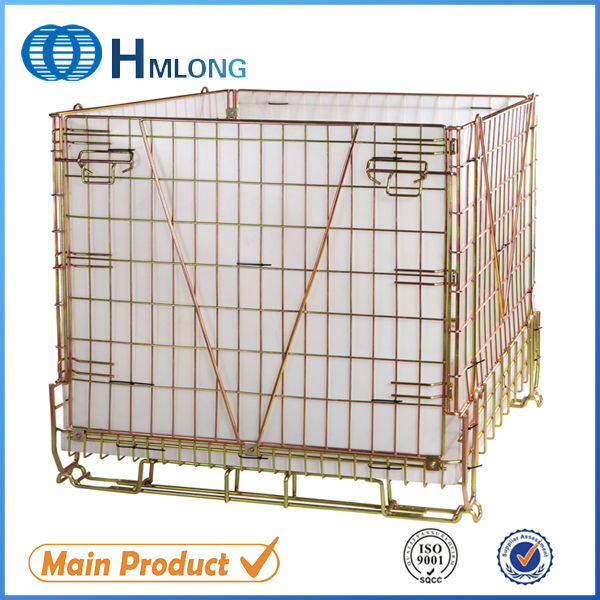 Industrial folded stackable steel forklift safety cage
