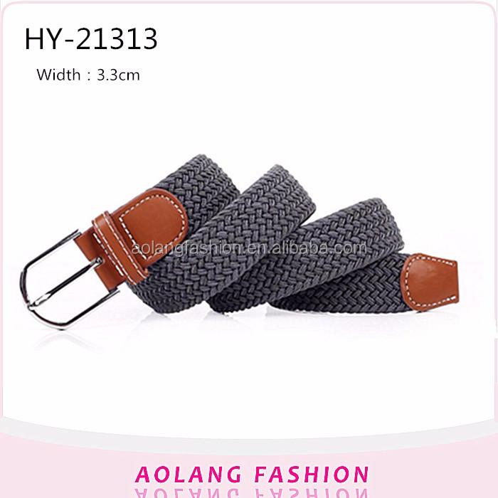 Fashion cheap casual braided Grey cotton weave ladies dress belt with pu leather covered belt buckle