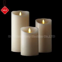 hot sale moving wick flame Feature and IVORY,Ivory Color led moving flame candle