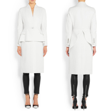 Fancy design plain white coat for women wool coat custom dress coat