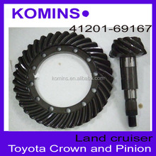 Ratio 9x37 41201-69167 Crown and Pinion for toyota Landcruiser , Ring and Pinion