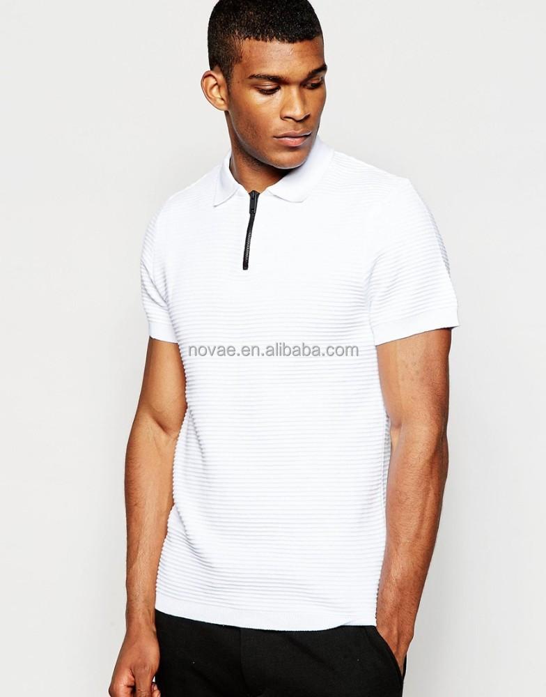 Lightweight knit men buttonless zipper collar polo shirt for No button polo shirts