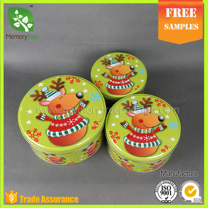 promotional round christmas biscuit cookie tin box packaging