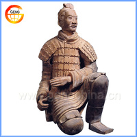 New clay carved large resin garden statues of terracotta warrior replica