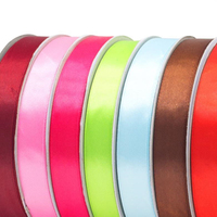 NO MOQ wholesale 5/8inch 1.5cm single face 100% polyester satin ribbon wholesale