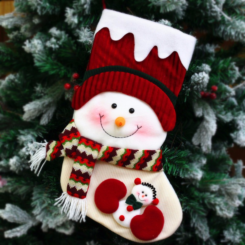 Fast Delivery plush Handmade childrens christmas stocking