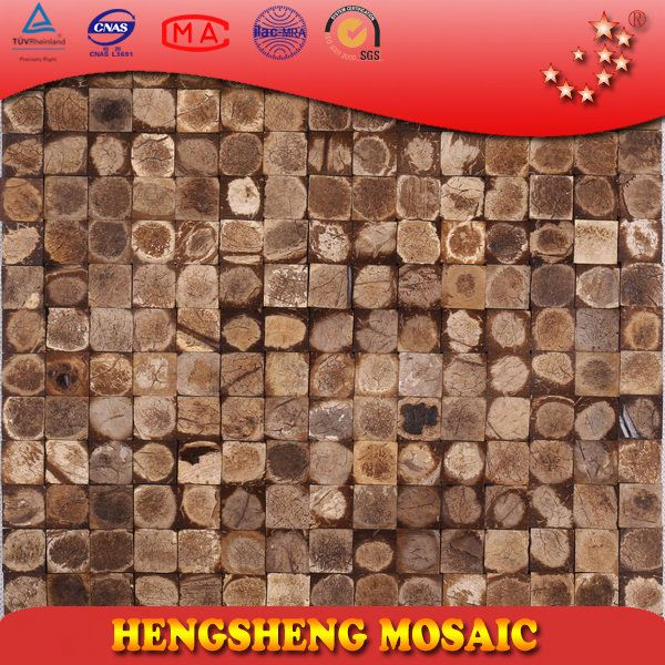 Chinese Foshan Coconut Shell Natural Raw Color Decoration Wall Mosaic sticker mosaic material building