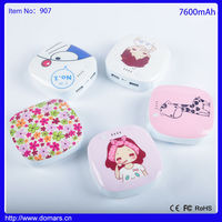 7600mah Cute Cartton Figure Drawing Dual USB Portable Power Bank