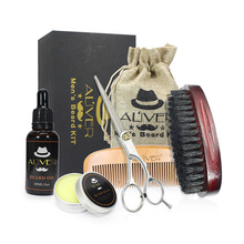FQ brand personalize OEM resin beard oil kit wooden beard grooming kit for men
