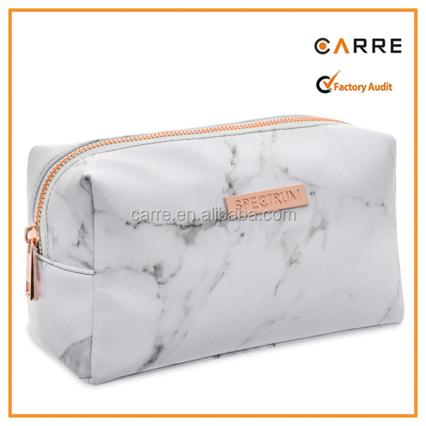 Custom White Marble Pattern Print soft faux leather Cosmetic Makeup Bag