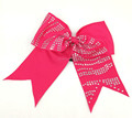 Cheer Bows with Korean Rhinestone Zebra Strips on Thick Elastic Band