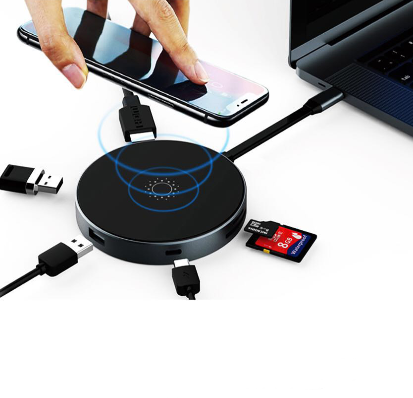 USB <strong>C</strong> With Wireless Charging Hub To 2USB 3.0 And SD TF Card Reader 4K HI Dock For Macbook pro