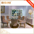 Bisini Brand Contemporary Fashion Design Glass Top Oval Dining Table Set, Creative Upholstered-Base Table And Tufted Chair Set