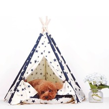 New Design Canvas Star Style Cotton Canvas Pet Teepee Tent and Kennels Dog Play House With Cushion