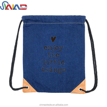 2018 New Arrival Denim Fabric Drawstring Backpack Bag For Kids Strip Style Drawstring Backpack