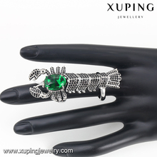 13092-wholesale silver jewelry luxury big animal centipede shape green rings