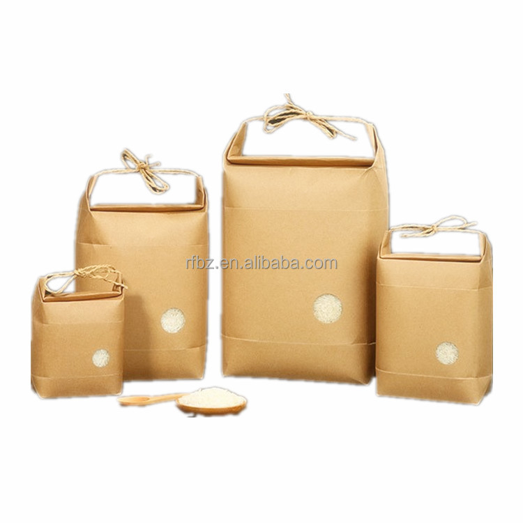 1kg Rice package kraft paper packaging bag brown kraft food paper bag