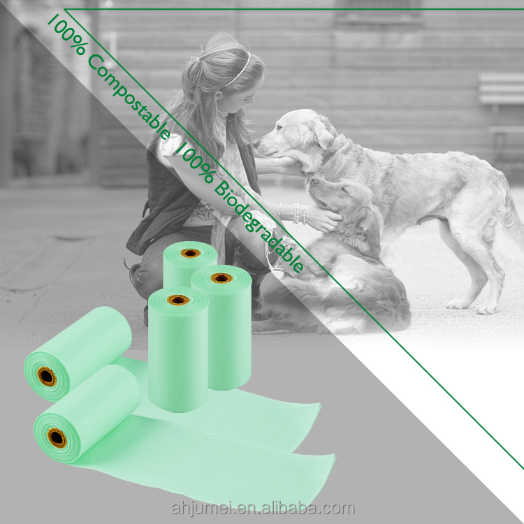 Custom competitive price biodegradable dog trash bags compostable pet waste bag with EN13432 ASTM D6400 ce