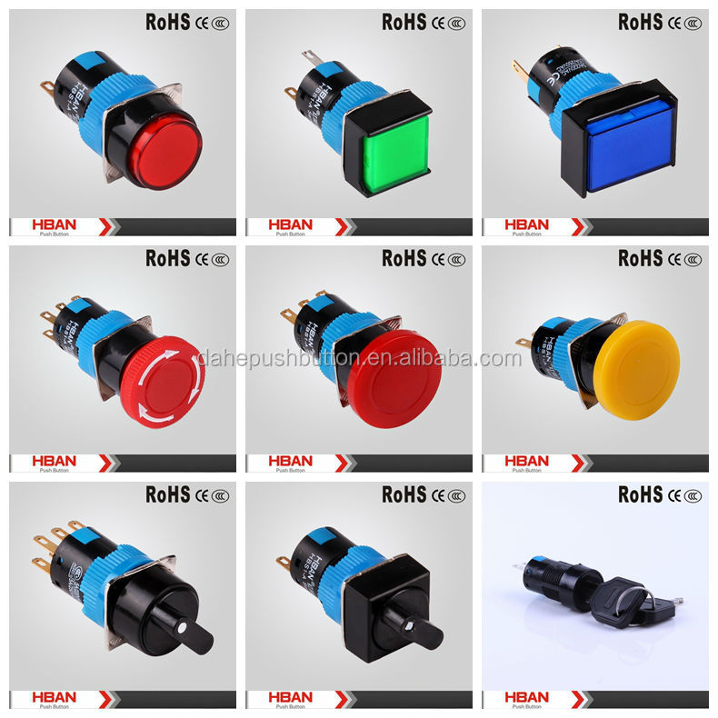 HBAN TUV UL HBS1-A Series 16mm light bulb symbol,different colored led lighting switch/selector/key /dc stop push button