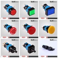 HBAN TUV UL HBS1-A Series( 16mm) light bulb symbol,diffferent colored led lighting switch/selector/key /dc stop push button