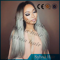 Free Shipping Ombre Gray/Grey color Japanese Harajuku noble synthetic hair lace front wig for ladies